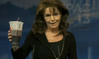 sarah palin holds her big gulp